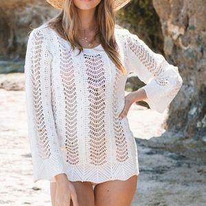 White Wavy Crochet Longsleeve Cover-Up